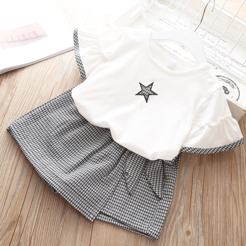 Baby Girl Clothes Summer New Children Girls' Clothing Set Love Tops+Pleated Student Skirt Girls Suit Baby Kids Clothes