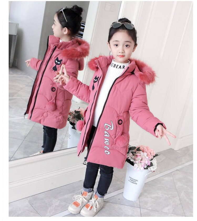 Girls Down Jackets Baby Outdoor Warm Clothing Thick Coats Children's Winter Jackets Kids Cartoon Embroidery Winter Outerwear