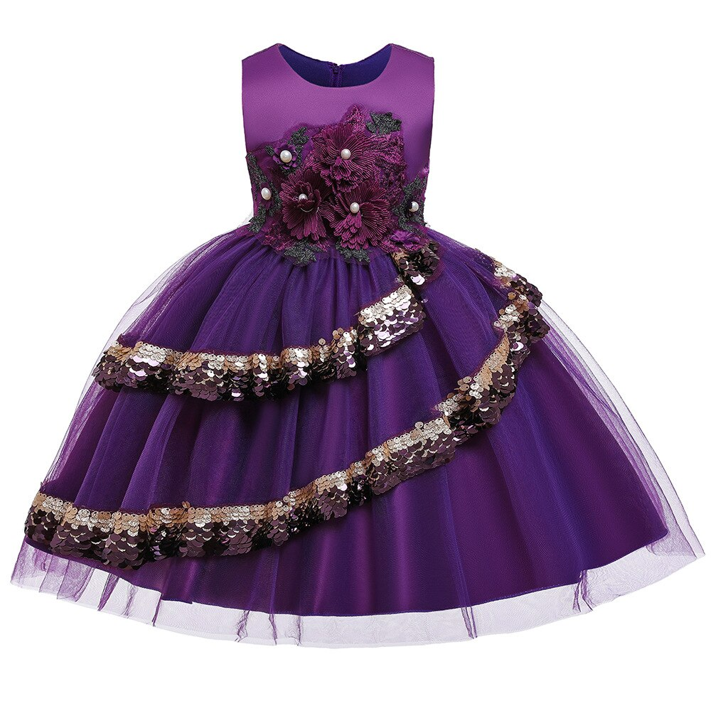 Girls' Embroidered Sequin Dress  Baby Girl Princess Flower Dress Kid Clothing Wear Christmas Birthday Party Dress 4-12 Years Old