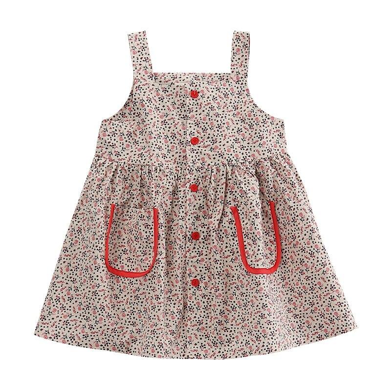2020 New Summer Girls' Dress Cute Korean Floral Pocket Buttons Camisole Princess Party Dress Children's Baby Kids Girls Clothing