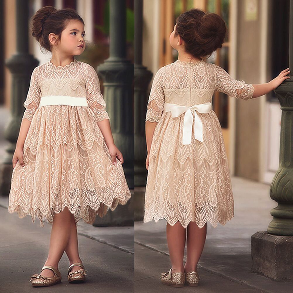 2020 Summer Girls' Dress Lace Bow Tie Dress Birthday Party Princess Dress Baby Clothes Toddler Children's Kids Girls Clothing