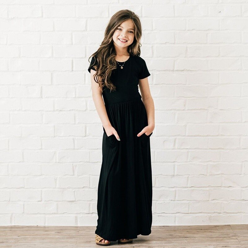 Summer Girls Long Dress Spring Baby solid Girl Party Dress 18M 10yrs Children's Casual  Wear Maxi girls's Dress  Kids Clothing