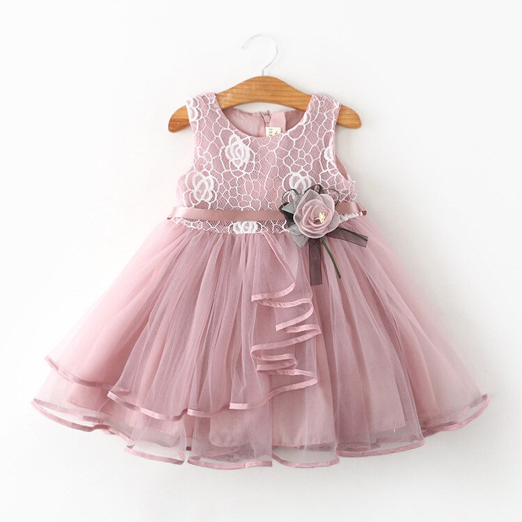 2020 New Girls' Dress Children's Ballgown Lace Summer Princess Dress Layered Little Girls Clothing Sleeveless Baby Girl Clothes