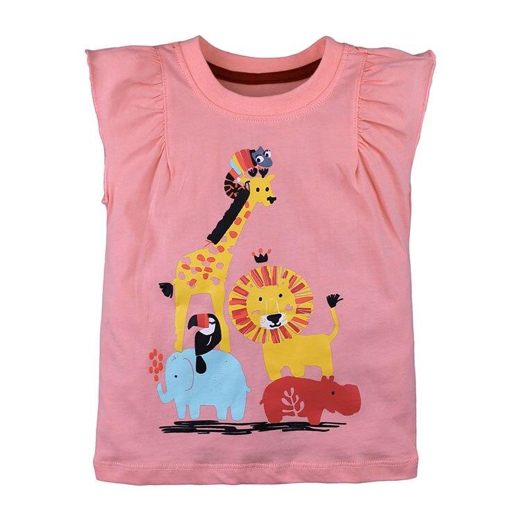 Elvesnest Baby Girls Tshirt Cotton Sleeveless T-shirt For Girls Summer Kids Girls' Clothing Tops Cartoon Print Child Girl Clothe