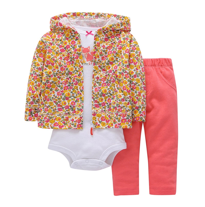kids baby bebes boy clothes set hooded jacket+rompers+pants infant boy girl clothing Autumn Spring children suits newborn set