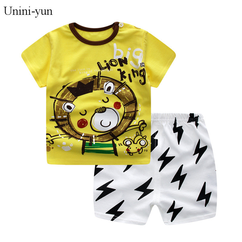 Baby Boy Girl Summer Infant Clothing Clothes Striped Shorts+Yellow Top Tees Clothes Baby Outfits Baby Clothes Newborn Outfit