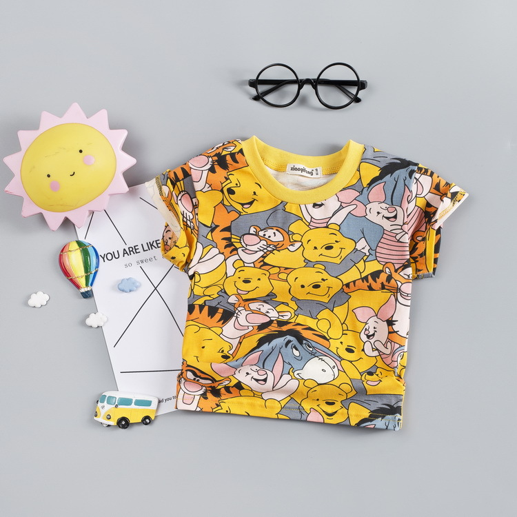 Summer Short sleeve baby printed cartoon casualset baby girl and boy o-neck Baby's Sets 6-24 month Cotton Suits Cotton clothes