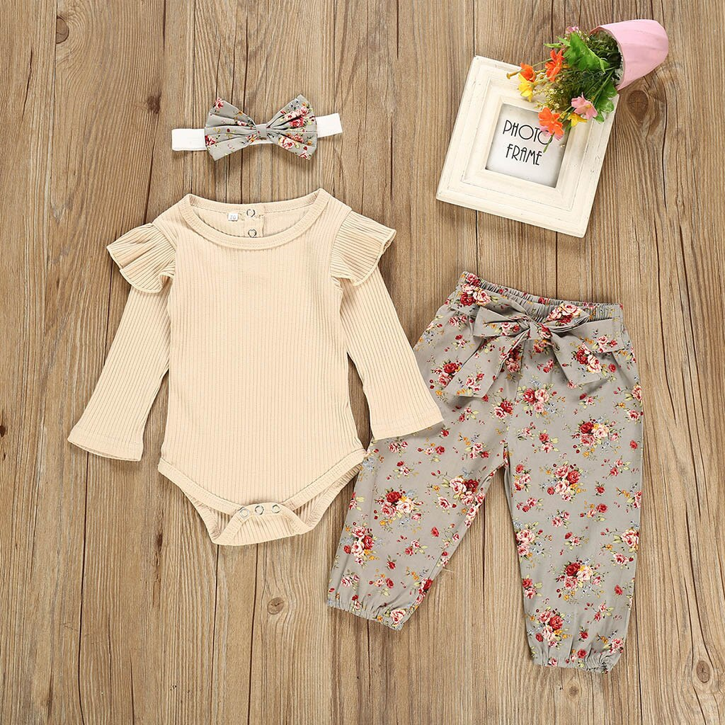 Toddler newborn baby girl clothes autumn Long Sleeve Solid Romper+Floral Print Suspender Skirts Outfits baby kleding meisje#y2*1