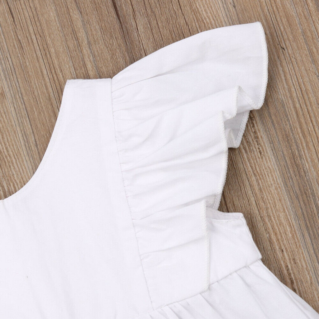 Cute Newborn Infant Baby Girl Summer Clothes set Solid White Ruffle Tops Dress Shorts Briefs Casual 2Pcs Outfits Set Swimwear