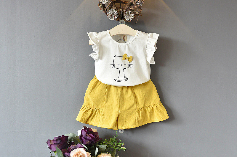 Baby Girl Clothes 2019 Hot Summer New Girls' Clothing Sets Kids Bay Girls Striped Cute Cat T Shirts +Shorts 2-7age