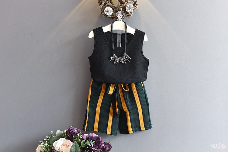 Baby Girl Clothes 2019 Hot Summer New Girls' Clothing Sets Kids Bay clothes Girls Striped Bow Belt Pants+T Shirts 2-7age