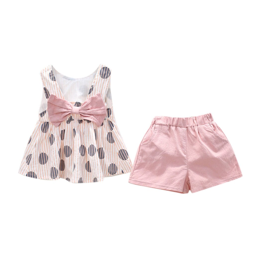 2019 Hot Summer New Girls' Clothing Sets Toddler Kid Baby Girl Outfits Clothes Dot Print Bowknot T-shirt Vest+Shorts Set W627