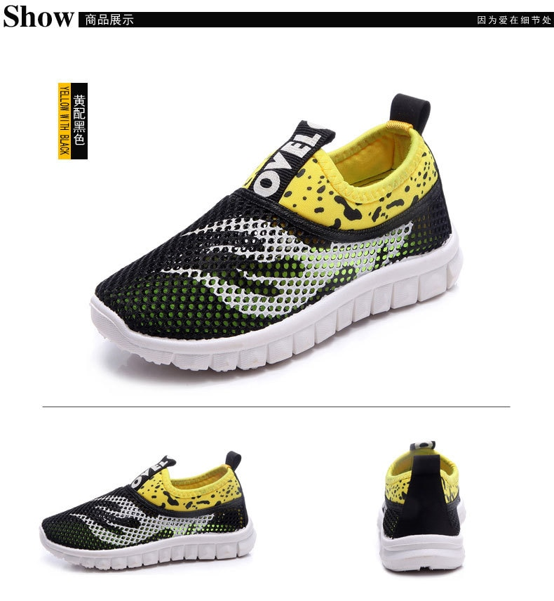 Summer New Boys Girls Running Shoes Kids Sneakers For Mesh Breathable Children Sports Shoes Student Rubber Flat Casual Shoes