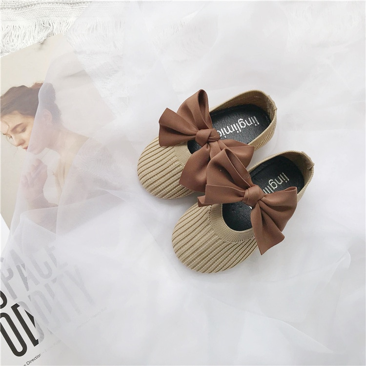 2019 new spring  autumn fly woven children's shoes bowknot girl princess shoes Breathable comfort baby grandma shoes soft bottom