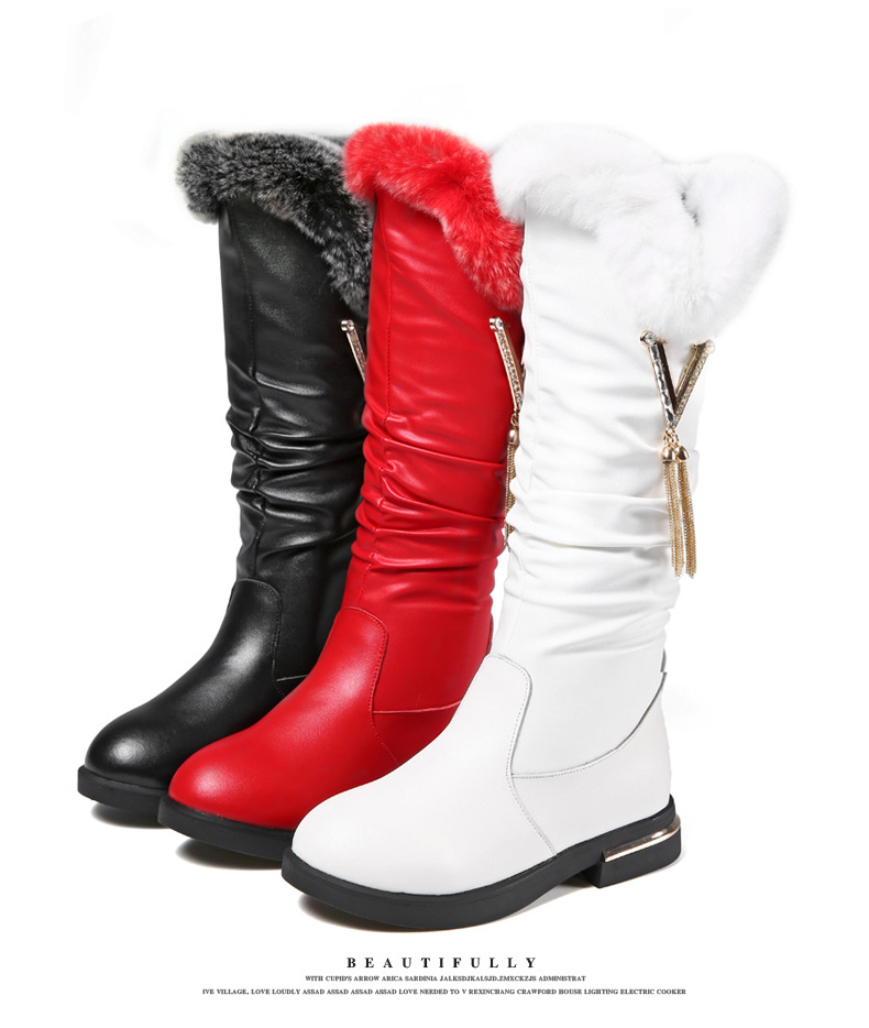 Cowhide Children's Boots 2018 Winter New Girls Boots Fashion Plush Warm Snow Boots Rabbit Comfortable Fur Kids Shoes KS357