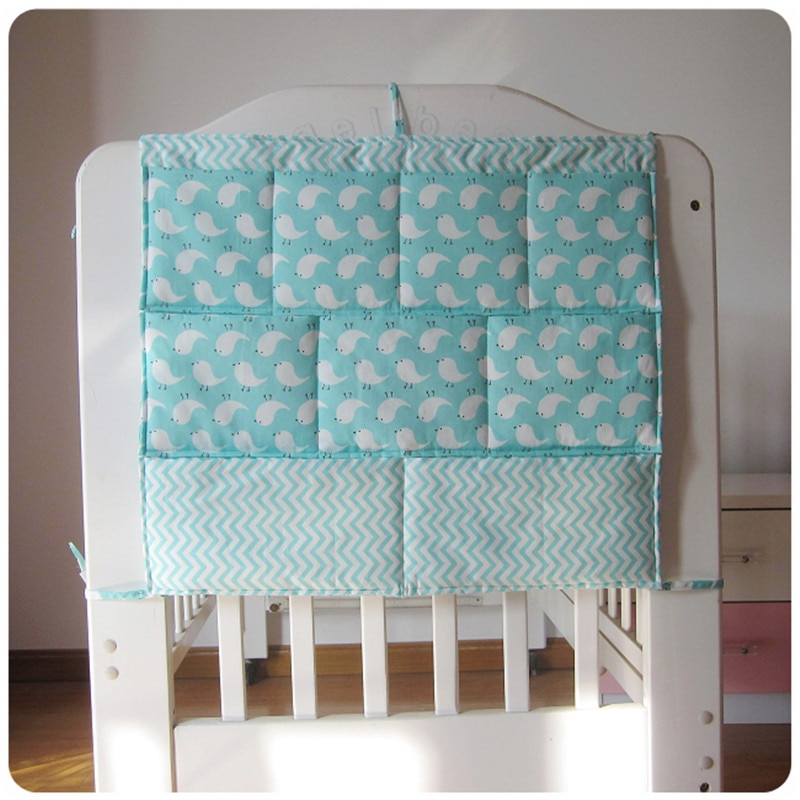 Bed Hanging Storage Bag Baby Cot Bed Brand Baby Cotton Crib Organizer 50*60cm Toy Diaper Pocket for Crib Bedding Set