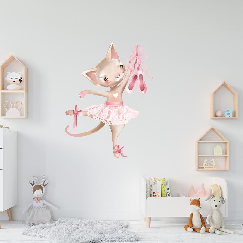 Cute Grey Bunny Ballet Rabbit Wall Stickers for Kids Room Cat Baby Nursery Wall Decals Pink Flower for Girl Room Home Decoration