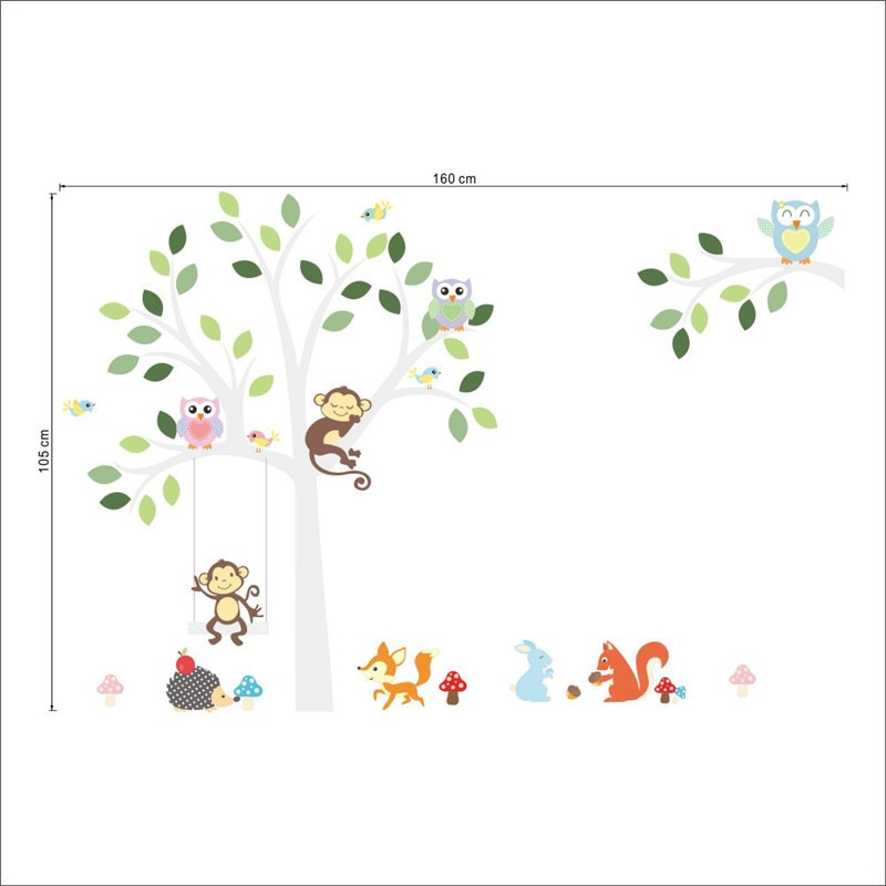 Forest Animals Tree wall stickers for kids room Monkey owl Jungle wild Wall Decal Baby Nursery Bedroom Decor Poster Mural 1piece