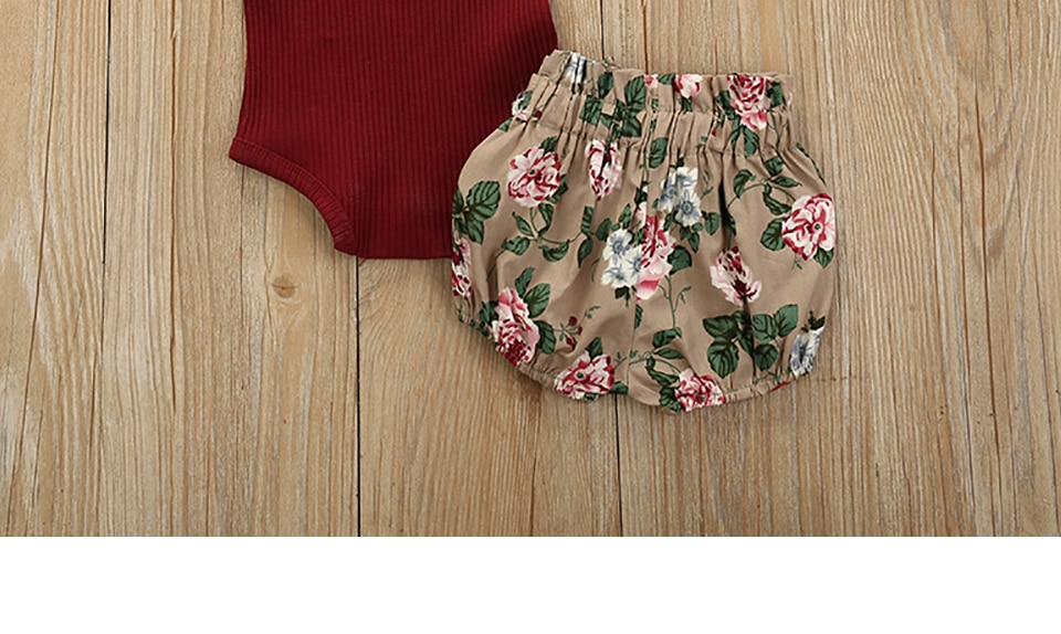 3Pcs Newborn Baby Girl Clothes Set Solid Color Short sleeve Romper Flower Shorts Headband Summer Outfit New Born Infant Clothing