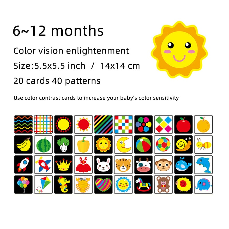 Montessori Baby Toys Black White Flash Cards High Contrast Visual Stimulation Learning Activity Flashcards Baby Gifts C0642H