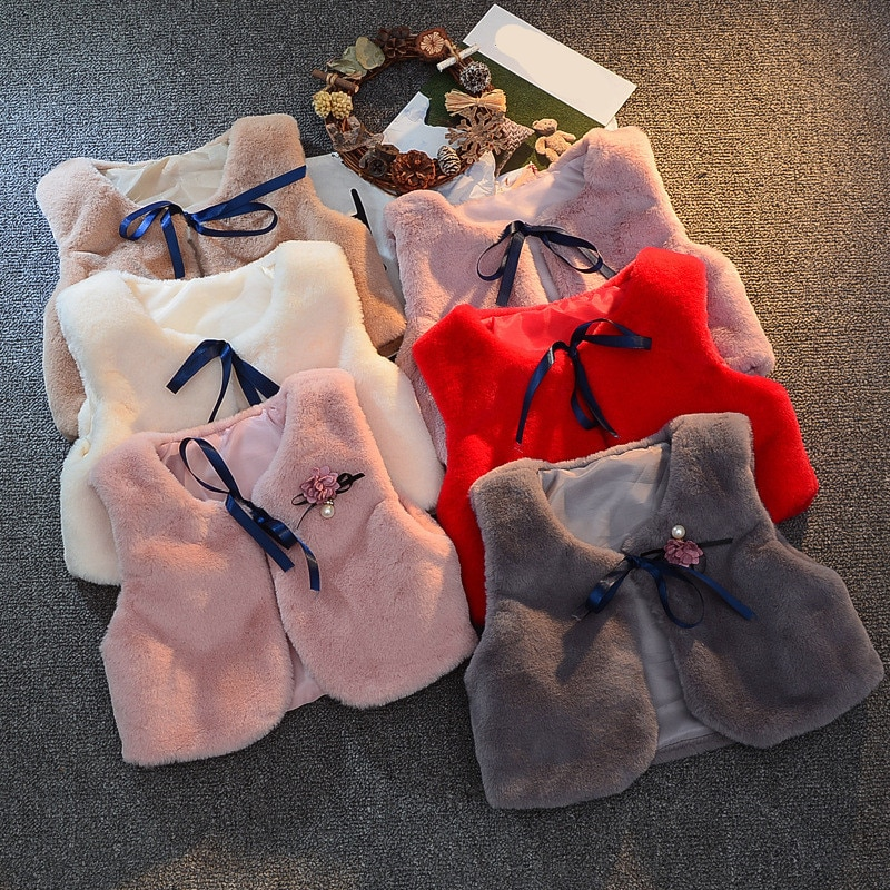 LILIGIRL 4.29$ of Girls Fur Vest Jackets 2019 New Baby Kids Autumn Rabbit Hair Vests Waistcoat for Children Clothes Outerwear