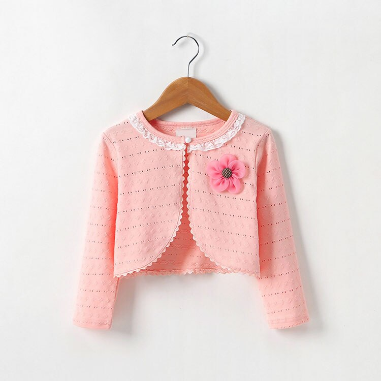 1 2 4 6 Years Spring Autumn Baby Cardigan Flower Sweaters Lace Collar Cotton Sweaters Thin Long Sleeve Kids Girl Knitting Coat