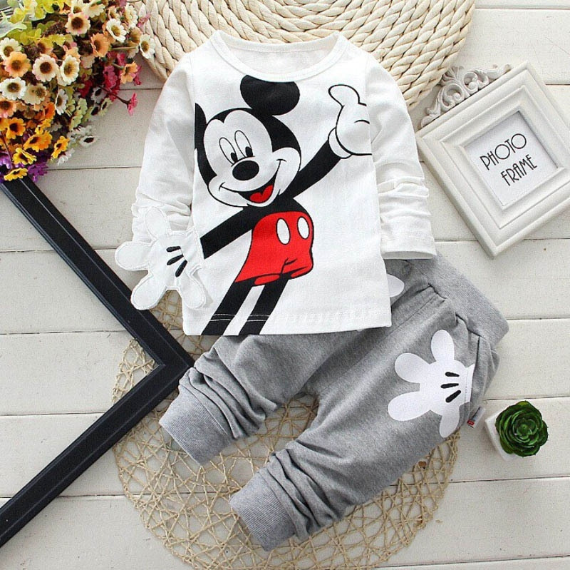 Spring Autumn New Children Boys Clothes Mickey Minnie Children Boys Clothes Mickey Set Cartoon Baby Girl Long-sleeved Two-piece