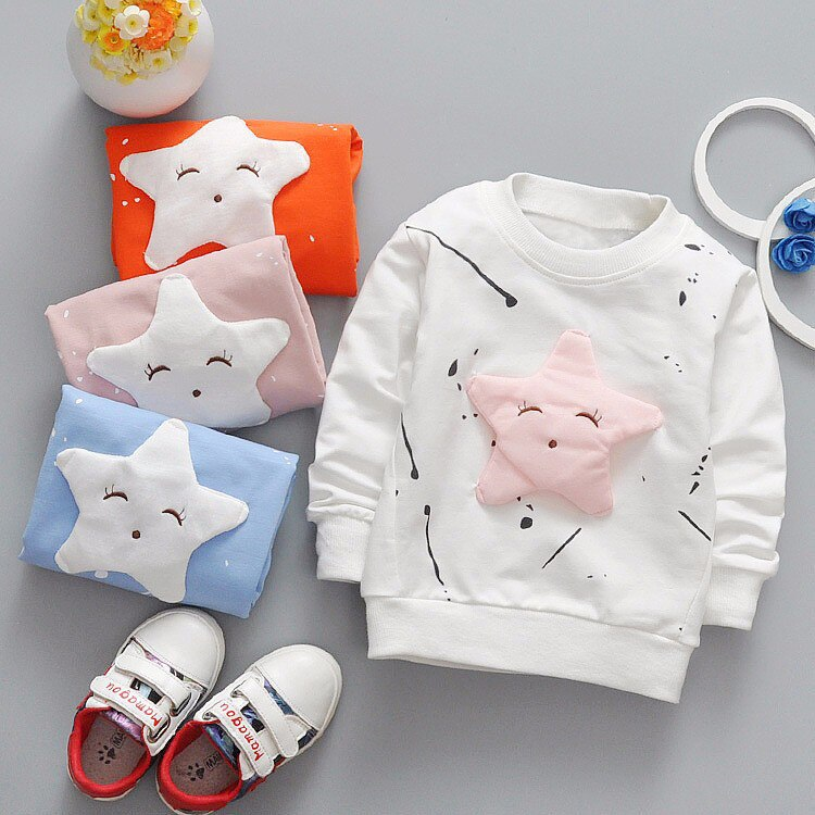 Baby Girls Boys t-shirt Long Sleeve Star Pattern Sport t-shirts for girls Cotton Children Clothes