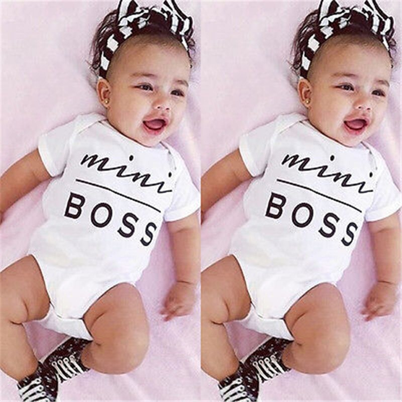 Newborn Summer Short sleeve Rompers Mini Boss Print Baby Girls Boys Jumpsuit Letter Romper Infantil Outfit Clothes Coveralls