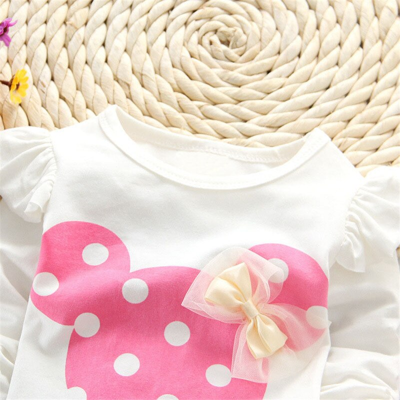 Newborn Baby Autumn Spring Set Mickey Minnie Children's Clothing Girls Dot Set Children's Long Sleeve Casual Home Two-piece Suit