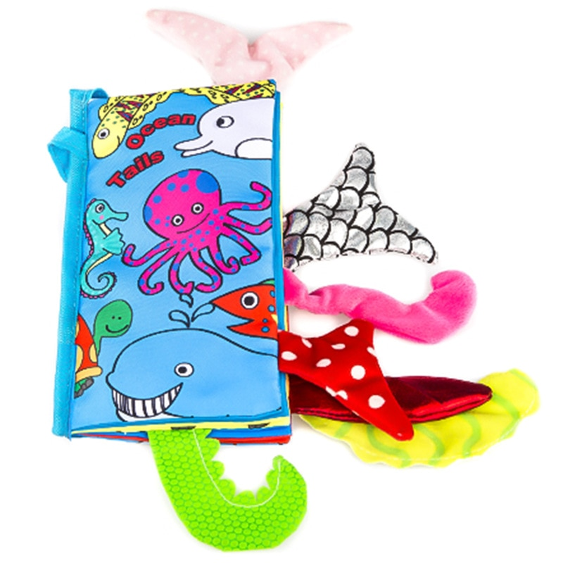 New Baby Toys Infant Kids Early Development Cloth Books Learning Education Unfolding Activity Books Animal Tails Style DS9
