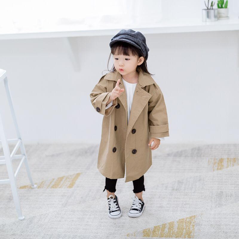 2019 Autumn Fashion Kids Girl Trench Coats Long Sleeve Baby Long Outerwear Children Clothing England Style Girls Windbreaker