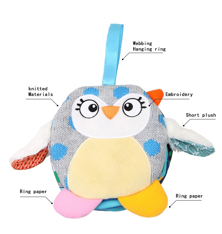 Baby Toys 0-12 Months Intelligence Development Owl Cloth Book Rattles Unfolding Activity Books Cute Animals Kids Toys DS9