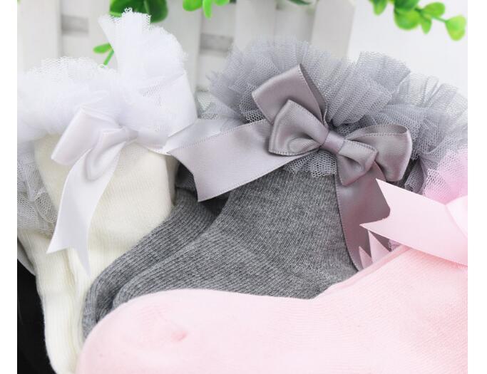 girl socks lace princess Bowknot baby girl cotton hosiery Girls toddler Soft Ruffle Frilly Ankle Socks princess short sock