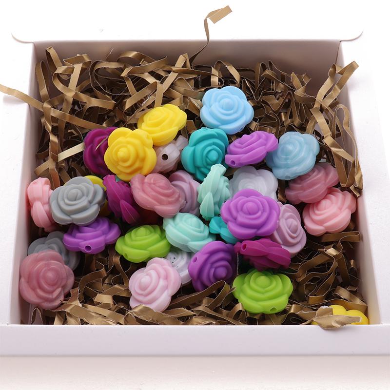 Mini Flower 10pcs Silicone Rose Beads BPA Free Baby Teething Jewelry DIY Infant Biting Nursing Toys Pacifier Chain Food Grade