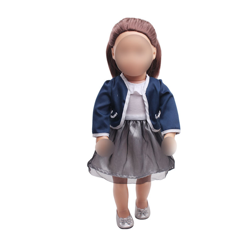 18 inch Girls doll dress Navy blue school uniform skirt American newborn clothes Baby toys fit 43 cm baby dolls c361