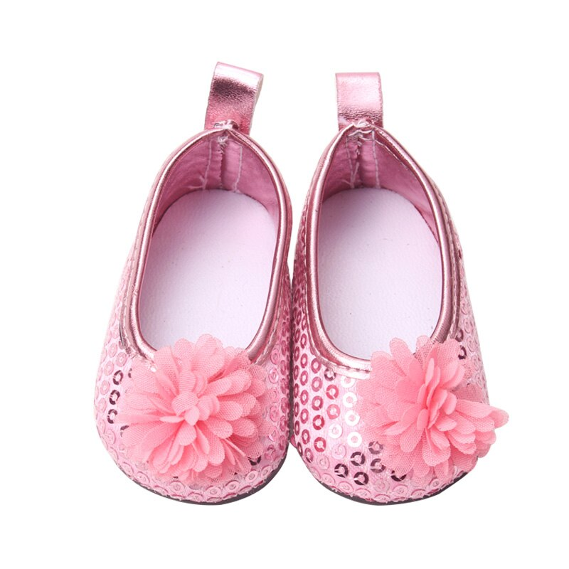 18 inch Girls doll shoes Princess dress shoe delicate sequins American new born accessories Baby toys fit 43 cm baby s153
