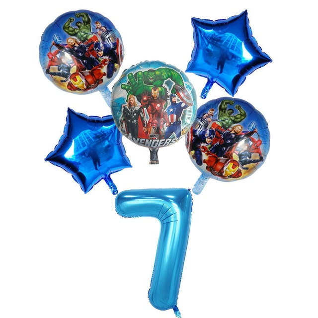 6pcs/set Spider Foil man Balloons Avengers Number Balloon Birthday Party Decorations Super hero Boy Kids Toys baby shower Globos