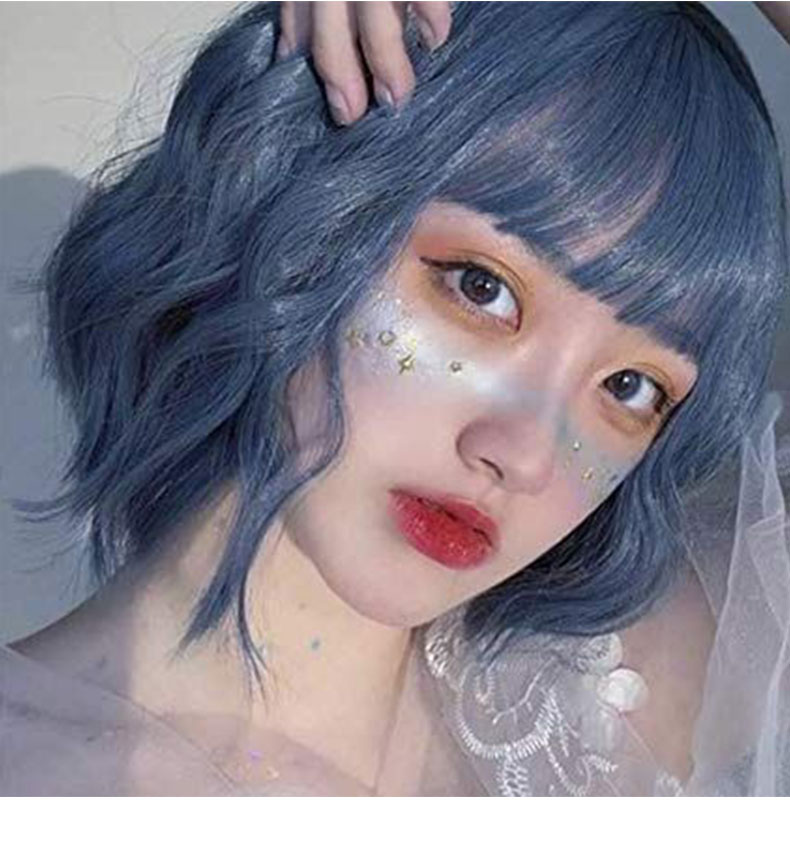 SHANGKE Short Wavy Wigs for Black Women African American Synthetic Hair Purple Wigs with Bangs Heat Resistant Cosplay Wig