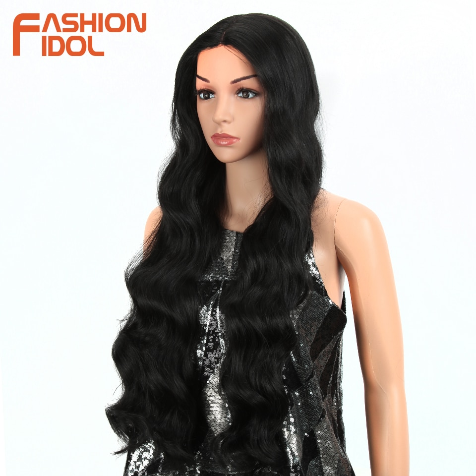 FASHION IDOL 28 Inch Deep wave Lace Front Synthetic Wigs For Black Women Natural Long Wavy African American 8 Colors Cosplay Wig