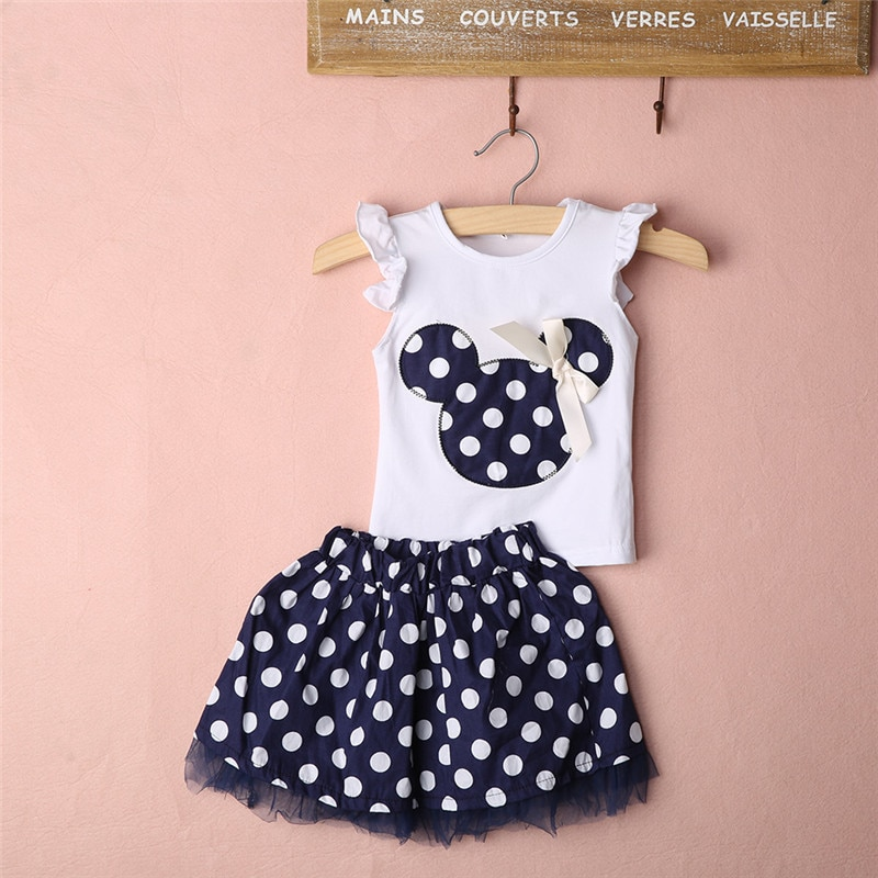 Baby Girls Summer Clothes Set  Kids Polka Dot Sleeveless Top T shirt + Tutu Skirt 2PCS Toddler Party Princess Outfits 0-4t