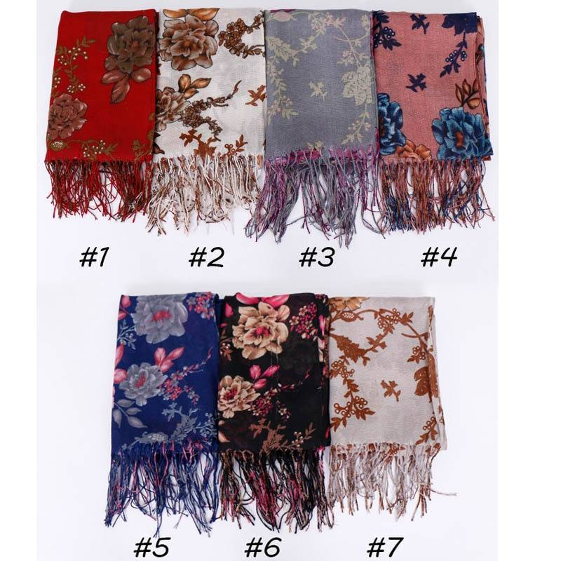 Floral Print Scarf Cotton Women's Hijab Muslim Islamic Long Shawl Wrap Soft Thin Head Scarf Muslim Turban Headband 195x65cm