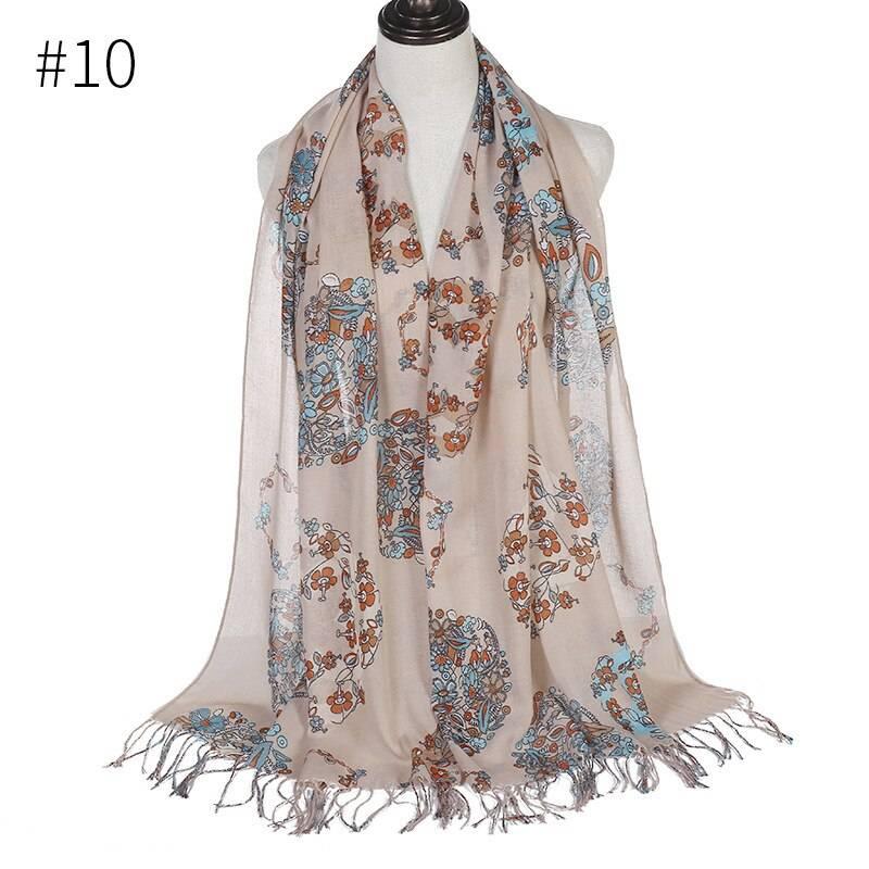 Viscose Cotton Printed Muslim Head Scarf Women Turkish Tassel Hijabs Wraps Islamic Long Shawl Headscarf Turban Lightweight