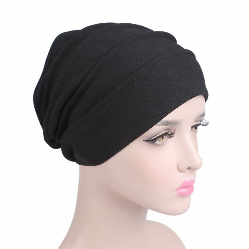2020 New Elastic Cotton Turban Hat Solid Color Women Warm Winter Headscarf Bonnet Inner Hijabs Cap Muslim Hijab femme Wrap Head