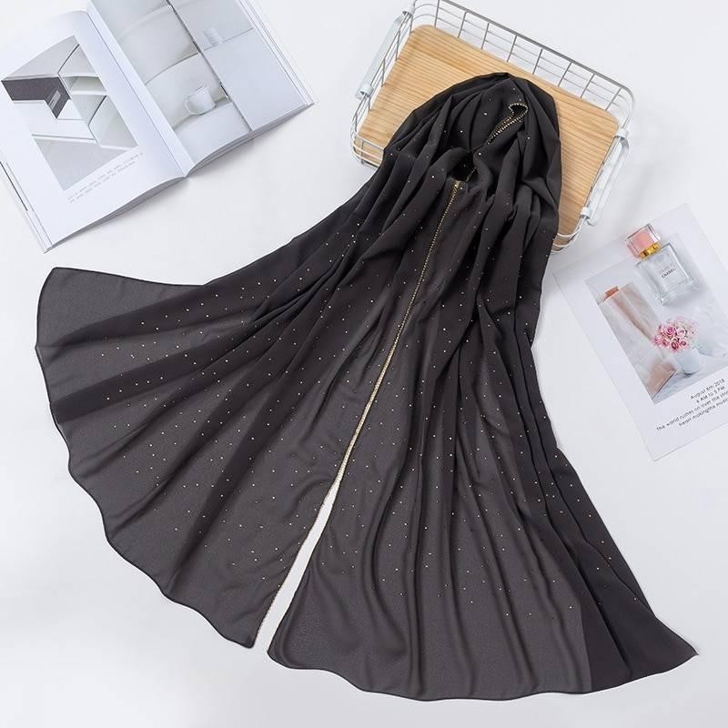 2020 New Product Diamond chiffon Women Long Hijab Scarf Muslim Lady Hijab Caps Islam Clothing Turkish Turban Shawl Headscarves
