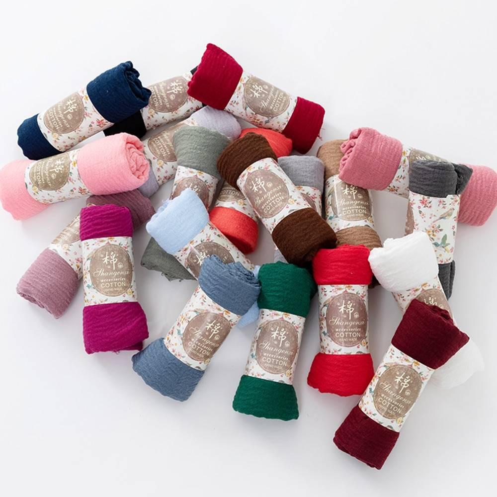 2020 Muslim Women Crinkle Hijab Scarf Soft Solid Cotton Head ScarvesTurban Shawls and Wraps hijab femme musulman kopftuch