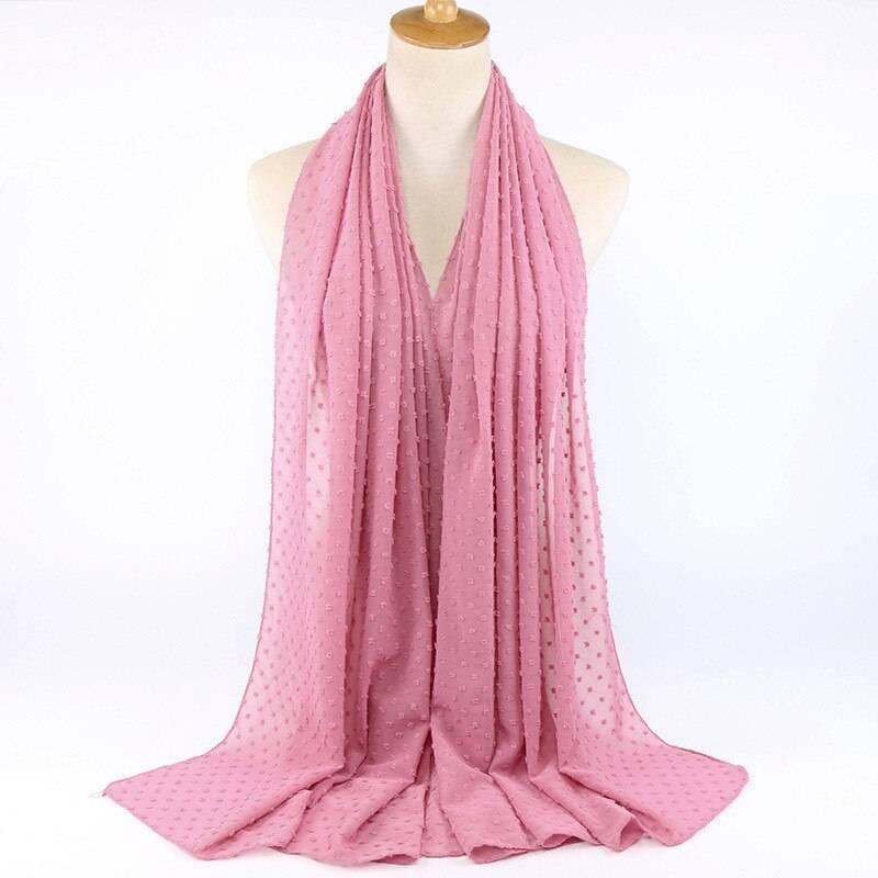2019 NEW women soild color breathable islamic headscarf arab head scarves Flocked bubble chiffon scarf hijabs for muslim