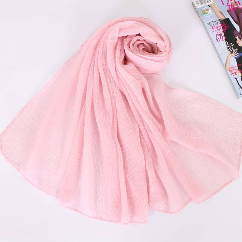 Crumpled Islamic Women Head Scarf Balinese Cotton Pleated Headwear Plain Long Shawl Wrinkled Muslim Hijab Turban Stole 90*180cm