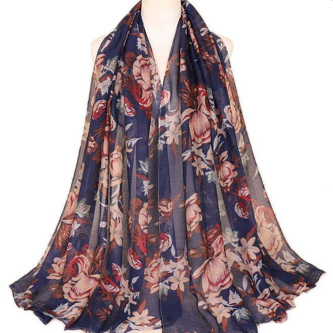 New Printed Balinese Cotton Scarf Hijabs For Women Casual Long thin Scarf Muslim Wrap Flower Shawl Arab Ethnic Headwear 180x80cm