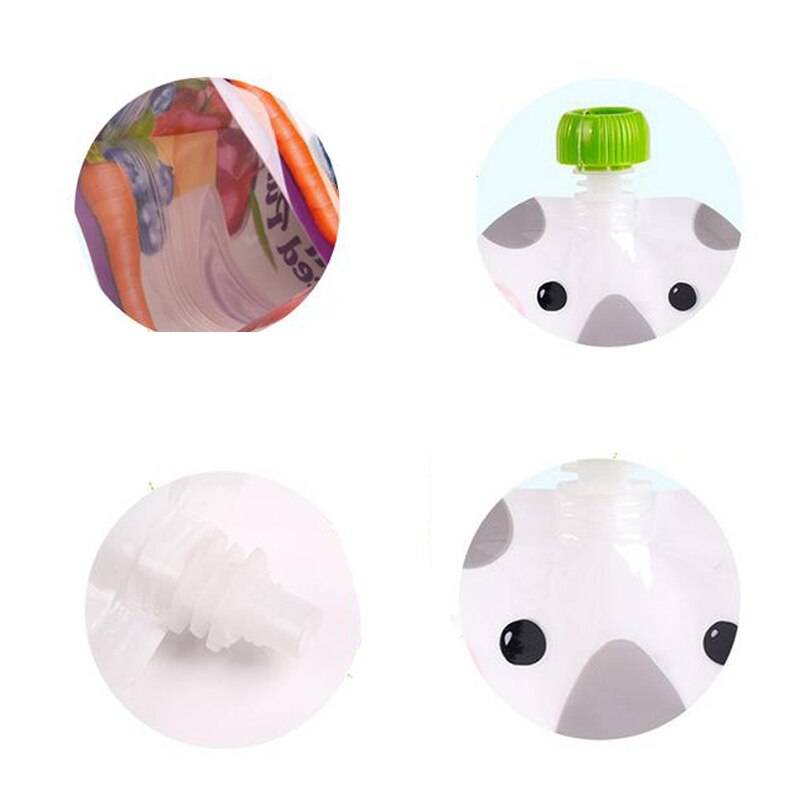 8pcs/pack BPA Free Baby Food Container 200ml Reusable Breast Milk Storage Bag Baby Food Box Pouch Snacks Baby Feeding Squeeze